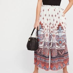 Free People Gold Dust Printed Wide Leg Trousers